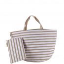 Großhandel sonstige Taschen: Jutetasche Elena, B58cm H36cm, natur-weiß gestreif
